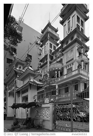 Saigon Caodai temple, district 5. Ho Chi Minh City, Vietnam (black and white)
