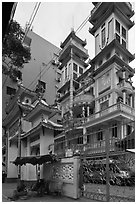 Saigon Caodai temple, district 5. Ho Chi Minh City, Vietnam ( black and white)