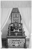 Altar, Saigon Caodai temple. Ho Chi Minh City, Vietnam (black and white)