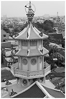 Back tower, Saigon Caodai temple. Ho Chi Minh City, Vietnam (black and white)