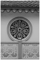 Circular motif, Saigon Caodai temple. Ho Chi Minh City, Vietnam (black and white)