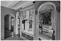 Hall with fresco feature three saints, Saigon Caodai temple, district 5. Ho Chi Minh City, Vietnam (black and white)