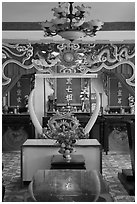 Secondary altar, Saigon Caodai temple. Ho Chi Minh City, Vietnam (black and white)