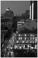 Hotel Continental, streets, and Basilica at night. Ho Chi Minh City, Vietnam ( black and white)
