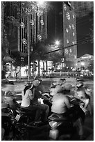 Traffic outside of shopping mall. Ho Chi Minh City, Vietnam ( black and white)