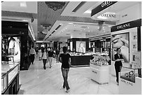 Designer brands in shopping center. Ho Chi Minh City, Vietnam (black and white)