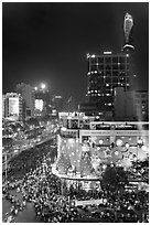 Cityscape elevated view at night with dense traffic on streets. Ho Chi Minh City, Vietnam ( black and white)