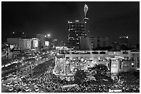 Cityscape with dense rush hour traffic at the intersection of two main boulevards. Ho Chi Minh City, Vietnam (black and white)