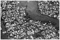 Aerial view of houses and fields on the outskirts of the city. Ho Chi Minh City, Vietnam ( black and white)