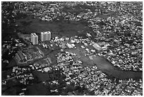 Aerial view of houses and high-rises on the outskirts of the city. Ho Chi Minh City, Vietnam (black and white)