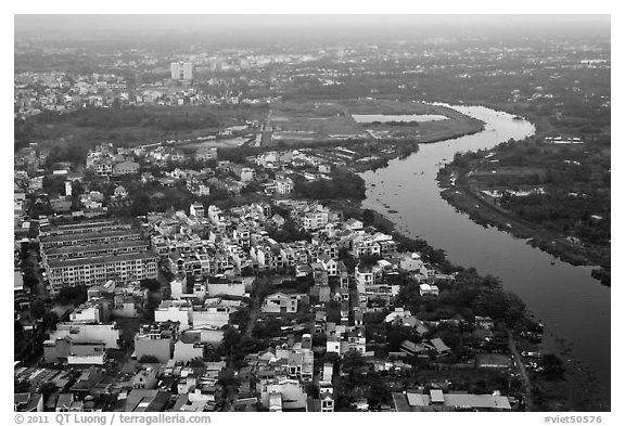 Aerial view of river and urban areas. Ho Chi Minh City, Vietnam (black and white)
