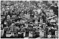 Aerial view of houses. Ho Chi Minh City, Vietnam ( black and white)