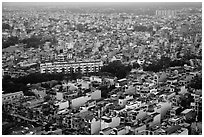 Aerial view of dense urban fabric. Ho Chi Minh City, Vietnam ( black and white)