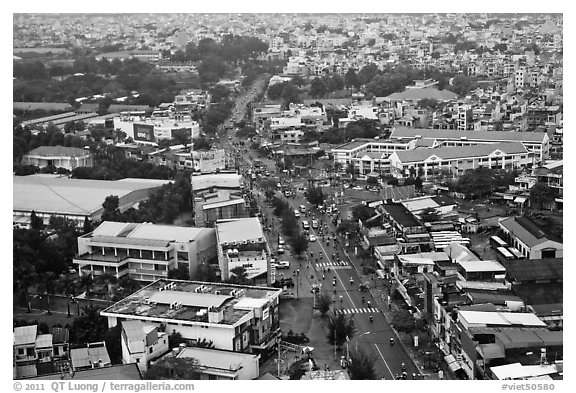 Aerial view of street and houses. Ho Chi Minh City, Vietnam (black and white)