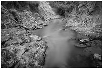 Fairy Spring stream flowing in gorge. Mui Ne, Vietnam (black and white)