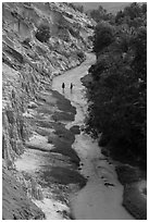 Fairy Stream and two hikers from above. Mui Ne, Vietnam ( black and white)