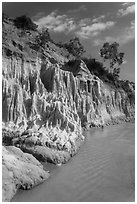 Colorful rock and sand formations above Fairy Stream. Mui Ne, Vietnam ( black and white)