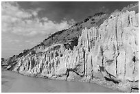 Eroded sandstone cliffs and Fairy Stream. Mui Ne, Vietnam ( black and white)