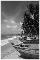 Palm-fringed beach with fishing boats. Mui Ne, Vietnam (black and white)