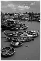 Fishing boats along river, Phan Thiet. Vietnam ( black and white)