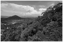 Mountain forest and plain dotted with hills. Ta Cu Mountain, Vietnam (black and white)