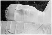 Head of Buddha statue. Ta Cu Mountain, Vietnam (black and white)