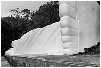 White reclining Buddha. Ta Cu Mountain, Vietnam (black and white)