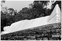 Largest buddha statue in Vietnam. Ta Cu Mountain, Vietnam (black and white)