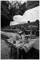 Alter below largest Vietnam Buddha statue. Ta Cu Mountain, Vietnam (black and white)