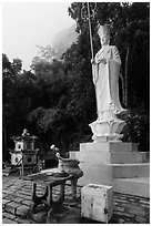 Buddhist statue. Ta Cu Mountain, Vietnam (black and white)