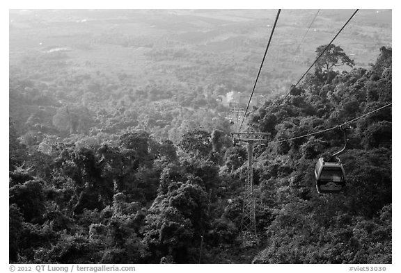 Cable car, tree canopy and plain. Ta Cu Mountain, Vietnam (black and white)