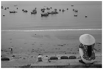 Above the fishing harbor, Lang Chai. Mui Ne, Vietnam ( black and white)
