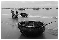 Traditional roundboats on beach. Mui Ne, Vietnam ( black and white)