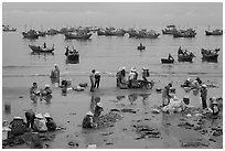 Activity on beach seen from above. Mui Ne, Vietnam (black and white)