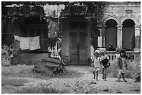Children in front of home. Mui Ne, Vietnam ( black and white)
