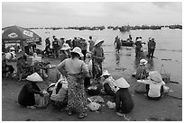 Beach market, Lang Chai. Mui Ne, Vietnam (black and white)