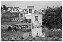 Christian tombs. Mui Ne, Vietnam (black and white)