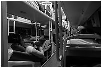 Inside sleeper bus. Vietnam (black and white)