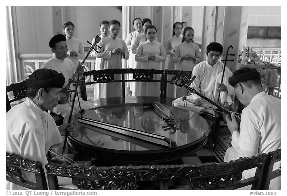 Musicians on mezzanine, Great Temple of Cao Dai. Tay Ninh, Vietnam (black and white)
