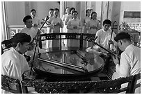 Musicians on mezzanine, Great Temple of Cao Dai. Tay Ninh, Vietnam ( black and white)