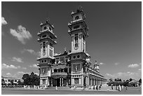 Cao Dai Holy See facade. Tay Ninh, Vietnam ( black and white)