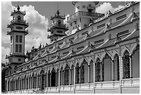 Sideways view of Great Temple of Cao Dai. Tay Ninh, Vietnam ( black and white)