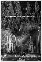 Incense sticks and coils, Thien Hau Pagoda. Cholon, District 5, Ho Chi Minh City, Vietnam ( black and white)