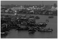 Cai Rang market at dawn. Can Tho, Vietnam ( black and white)
