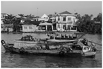 People moving pinapples from boat to boat on river. Can Tho, Vietnam ( black and white)
