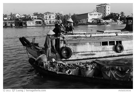 People buying fruit on boats, Cai Rang floating market. Can Tho, Vietnam (black and white)