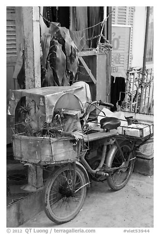 Altar on bicycle. Can Tho, Vietnam (black and white)