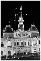 Peoples committee building (former City Hall) by night. Ho Chi Minh City, Vietnam (black and white)