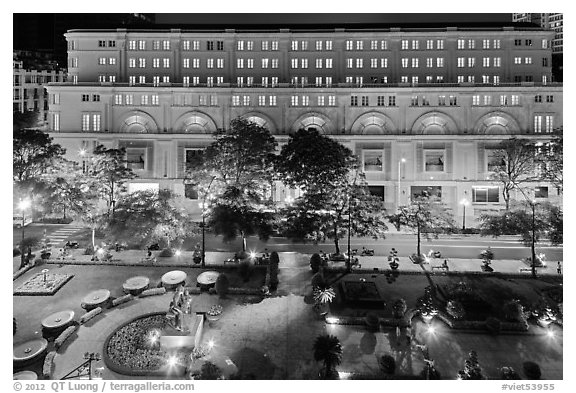 Plaza and commercial buildings from above at night. Ho Chi Minh City, Vietnam (black and white)