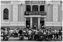 Tradionnal music performance outside municipal opera house. Ho Chi Minh City, Vietnam (black and white)